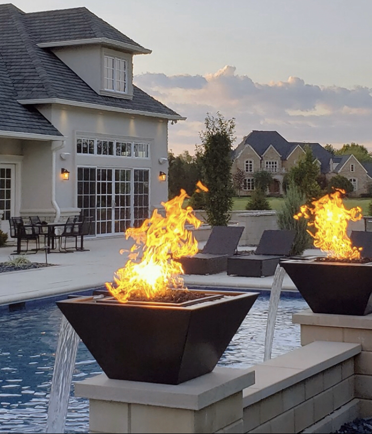 Bobe Copper Water Fire Feature - Squared