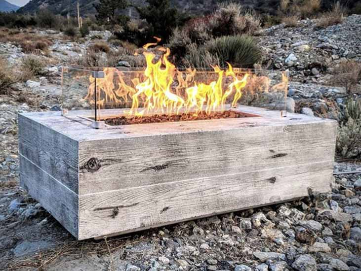 The Outdoor Plus Coronado Wood Grain Fire Pit - GFRC Concrete